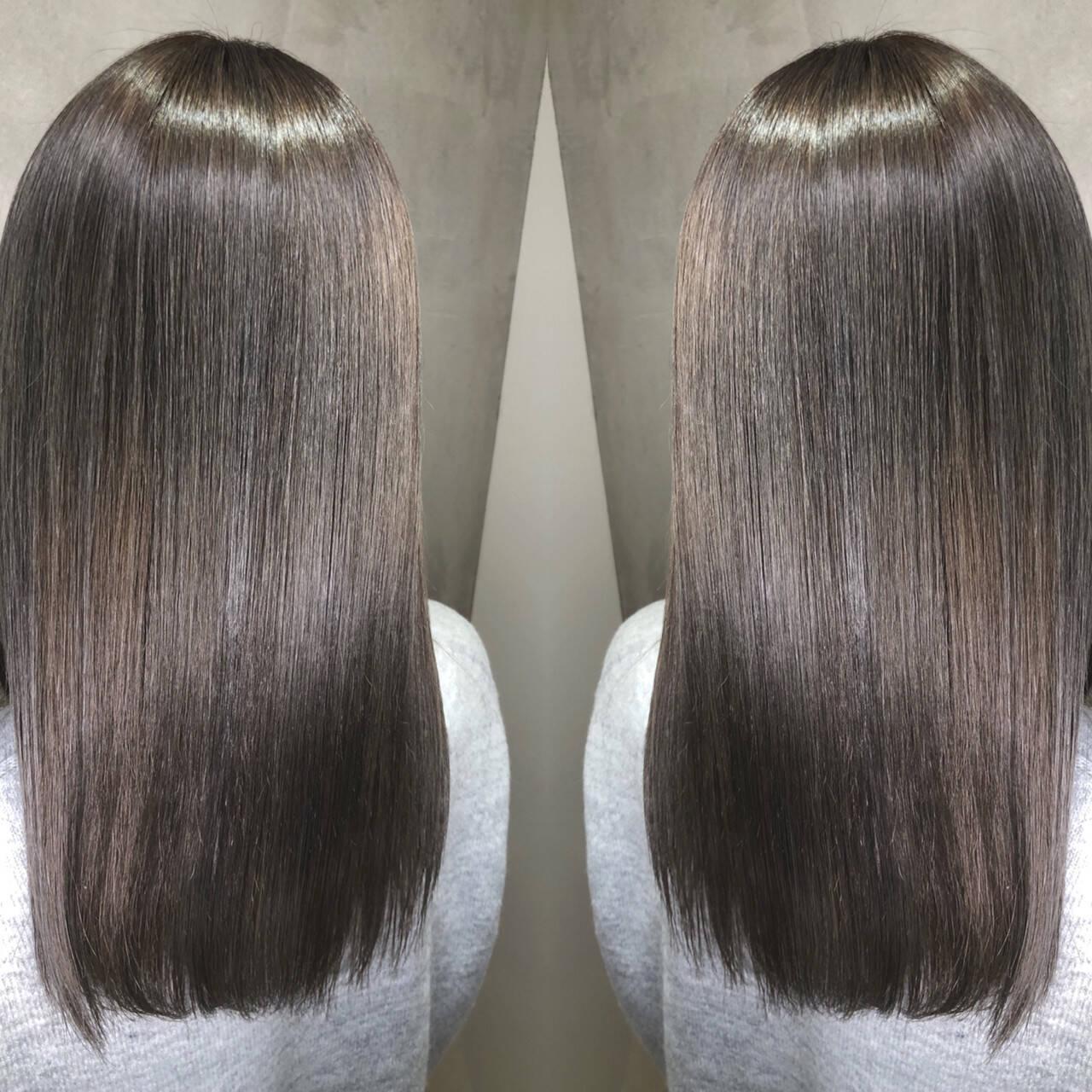 外国人風カラー ミディアム グラデーションカラー バレイヤージュヘアスタイルや髪型の写真・画像