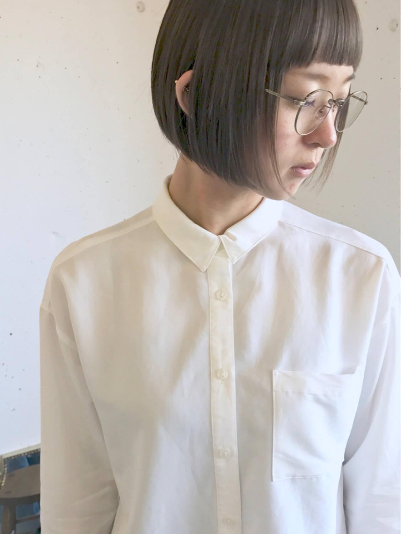 秋 グレージュ 切りっぱなし 透明感ヘアスタイルや髪型の写真・画像