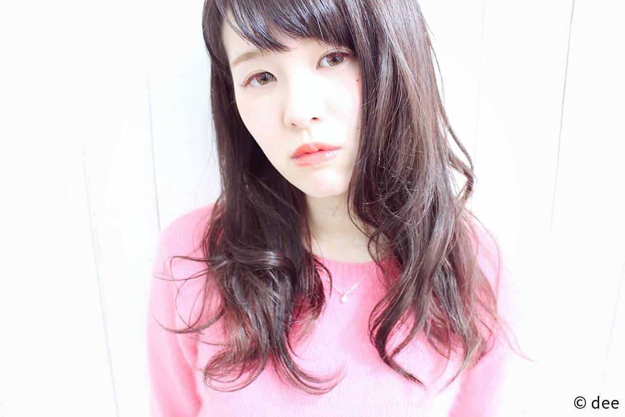 ゆるふわ ロング ラベンダーピンク ピンクヘアスタイルや髪型の写真・画像