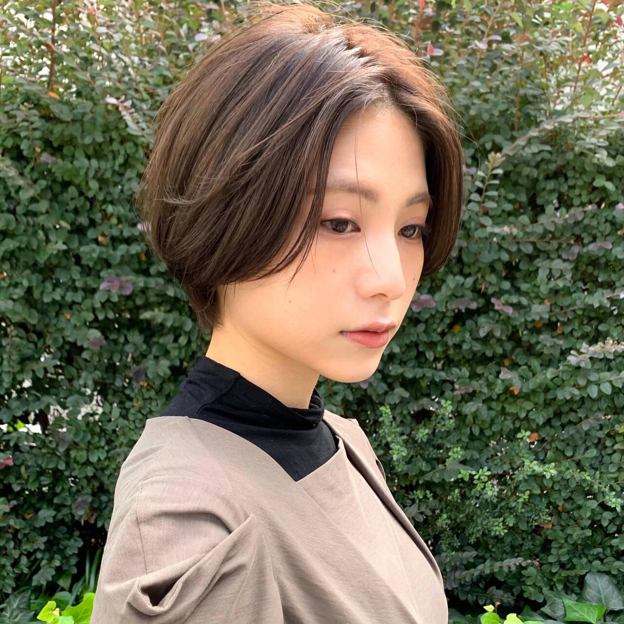 お手入れ簡単!! ナチュラル ショート 透明感カラーヘアスタイルや髪型の写真・画像