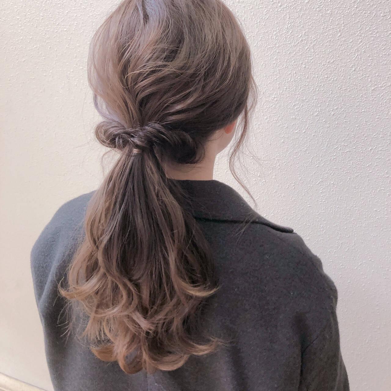 ヘアセット 簡単ヘアアレンジ セルフヘアアレンジ ナチュラルヘアスタイルや髪型の写真・画像