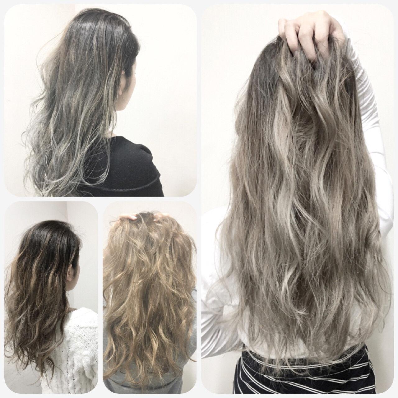ハイライト アッシュ ブラウン グラデーションカラーヘアスタイルや髪型の写真・画像