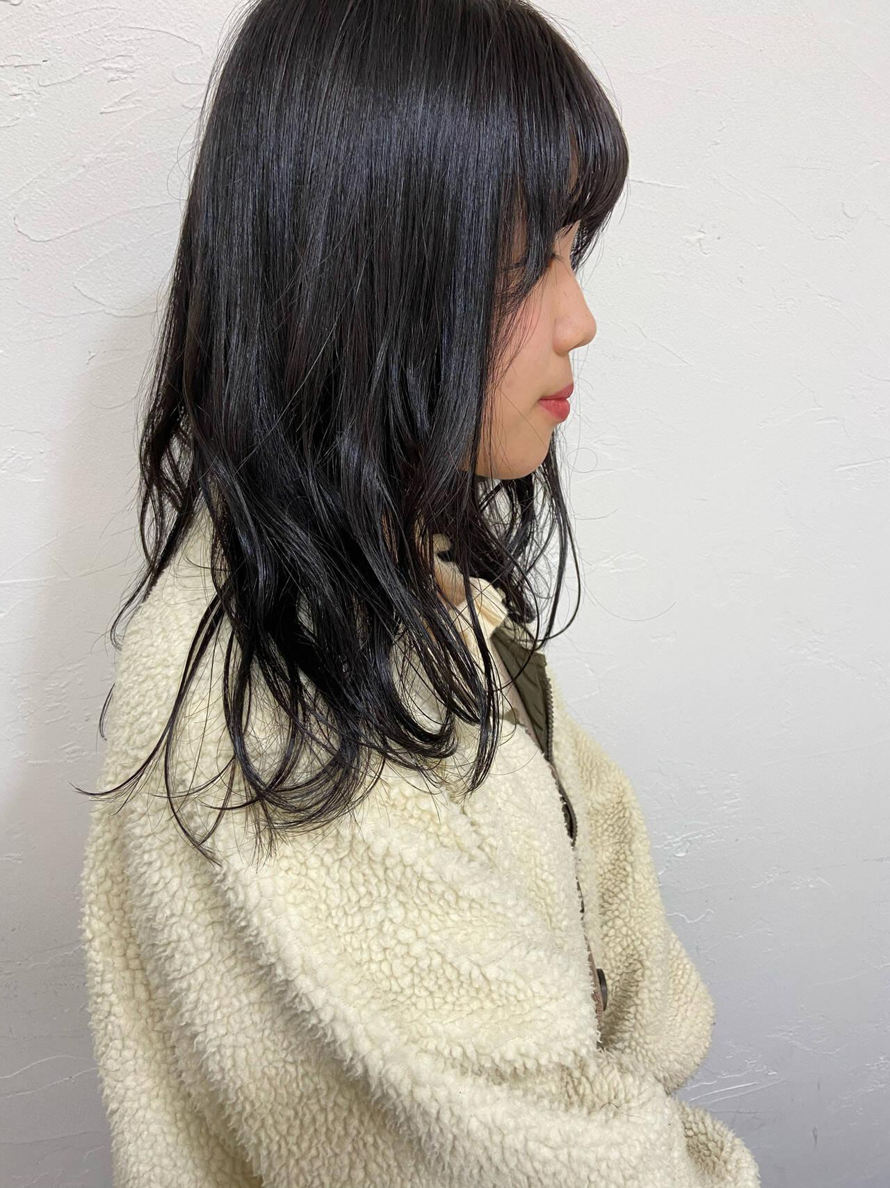ブルーブラック 黒髪 ナチュラル 暗髪女子ヘアスタイルや髪型の写真・画像