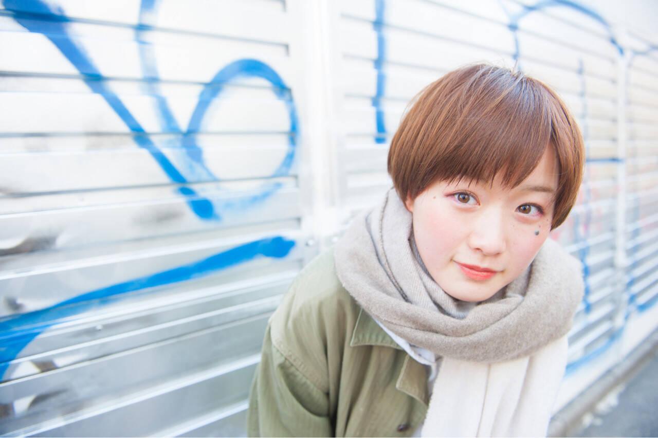 ガーリー 小顔 ショートボブ ショートヘアスタイルや髪型の写真・画像