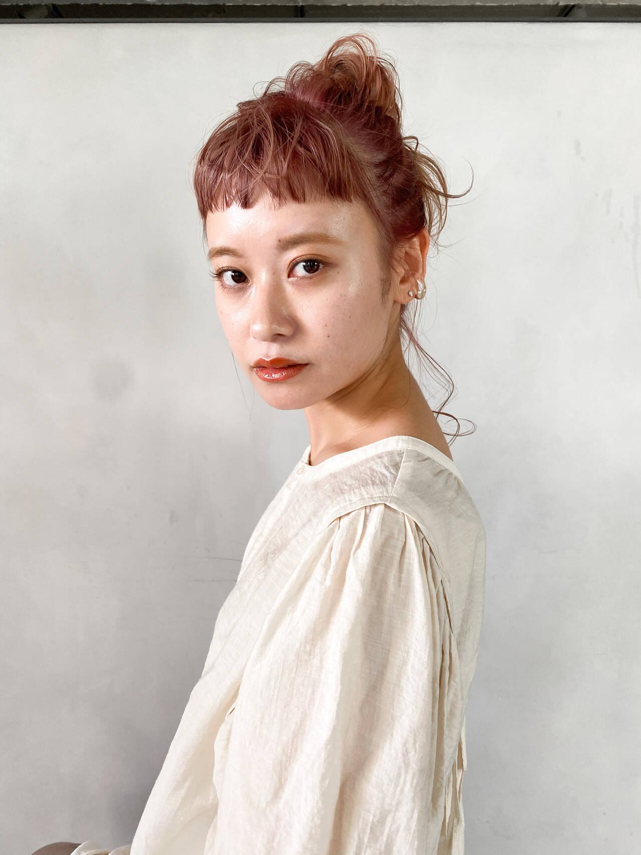 ヘアアレンジ ピンクブラウン 韓国 韓国ヘアヘアスタイルや髪型の写真・画像