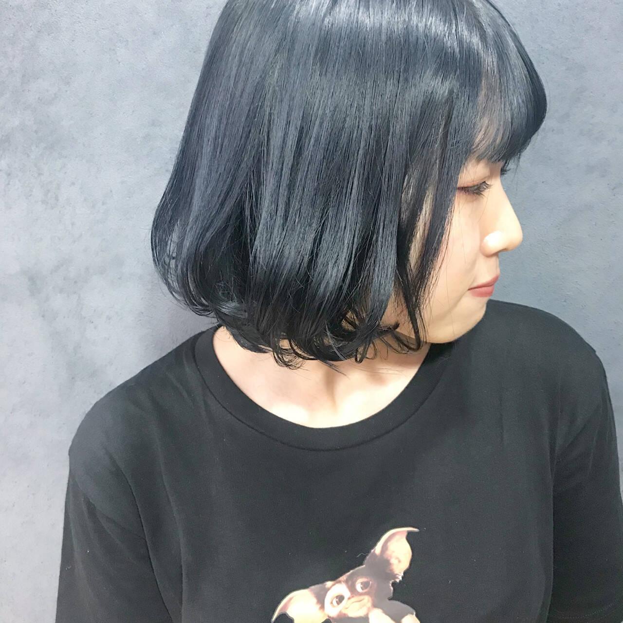ダークカラー ネイビーカラー ネイビーブルー 暗髪ヘアスタイルや髪型の写真・画像