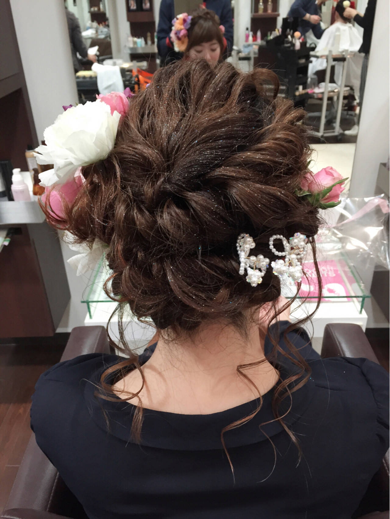 ゆるふわ フェミニン セミロング 渋谷系ヘアスタイルや髪型の写真・画像