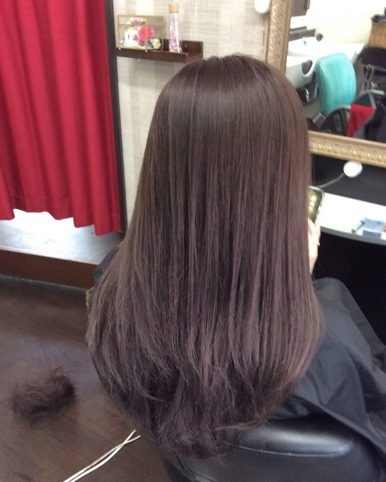 ラベンダーアッシュ セミロング ラベンダー ヘアカラーヘアスタイルや髪型の写真・画像