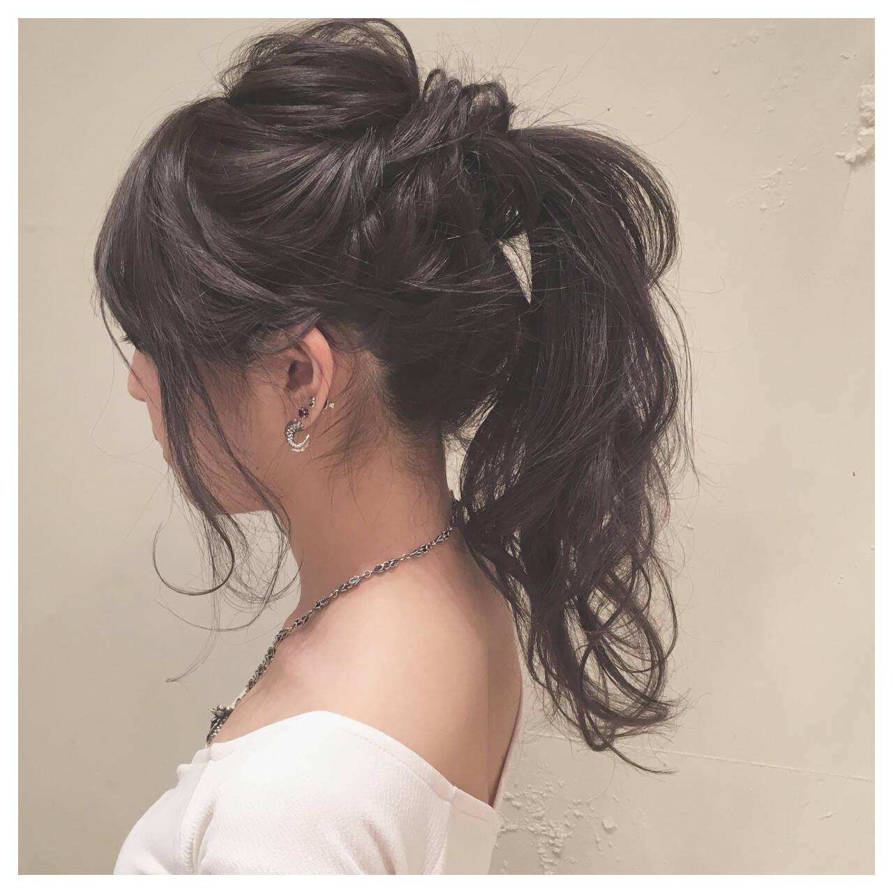 ロング ゆるふわ ポニーテール 結婚式ヘアスタイルや髪型の写真・画像