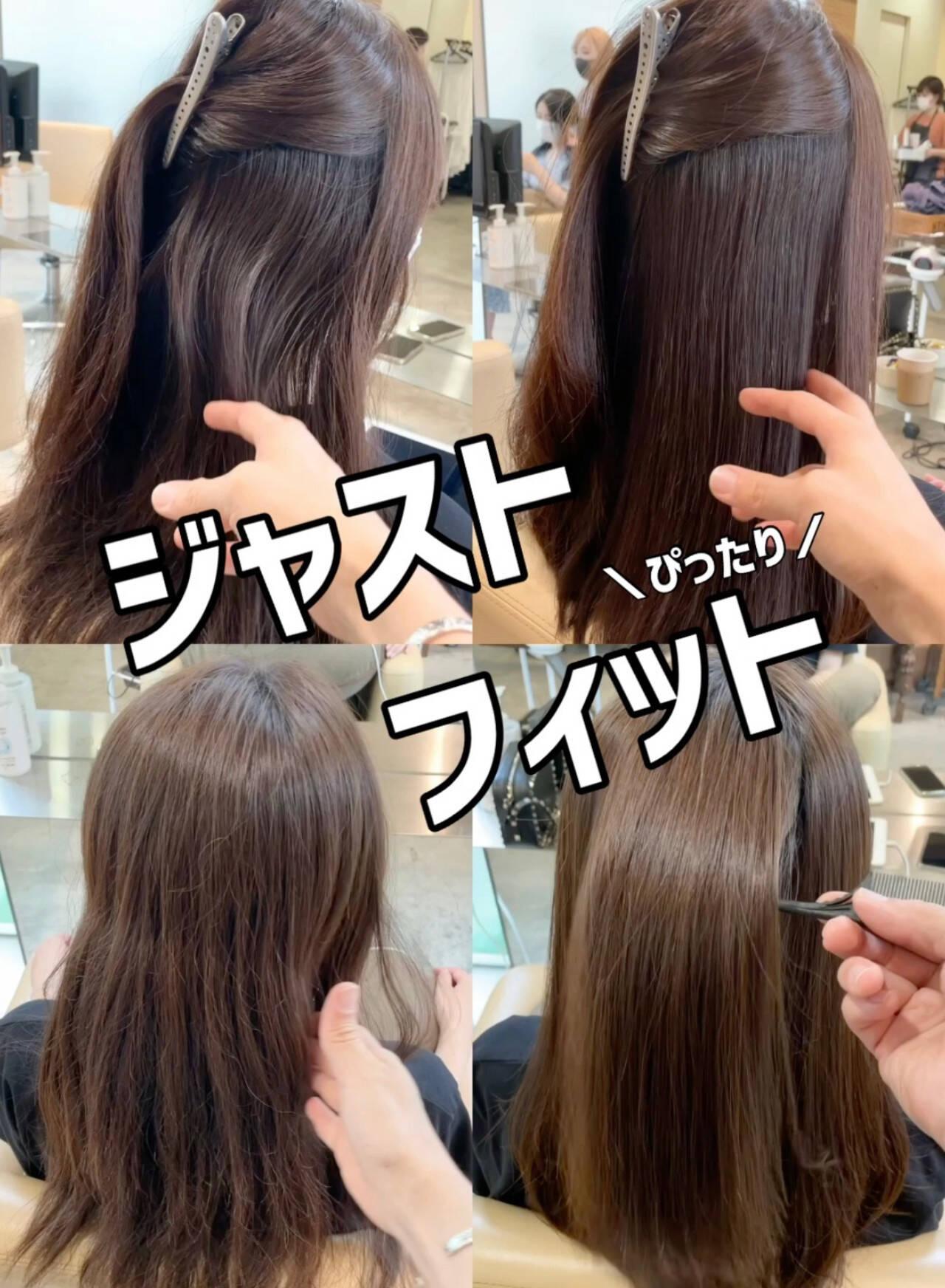 ブリーチなし グレージュ ナチュラル ストレートヘアスタイルや髪型の写真・画像
