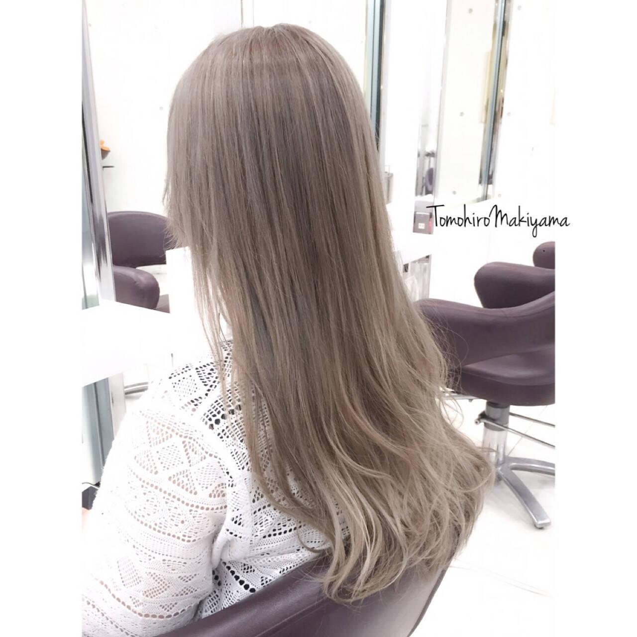 ホワイトアッシュ ロング ブリーチ ストリートヘアスタイルや髪型の写真・画像
