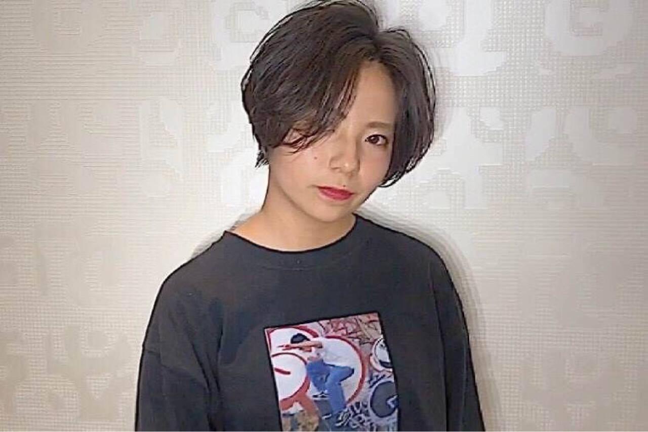 流し前髪 ヘアアレンジ ショート 前髪ありヘアスタイルや髪型の写真・画像