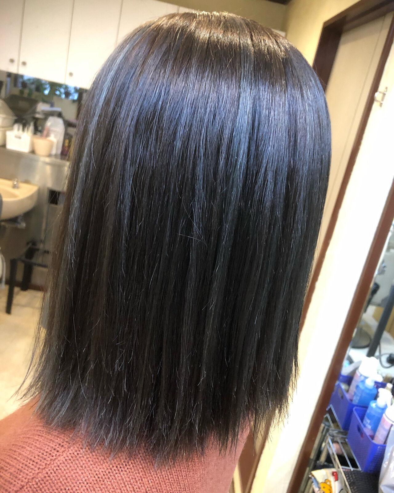 ミディアム 透明感 ブリーチ ロブヘアスタイルや髪型の写真・画像
