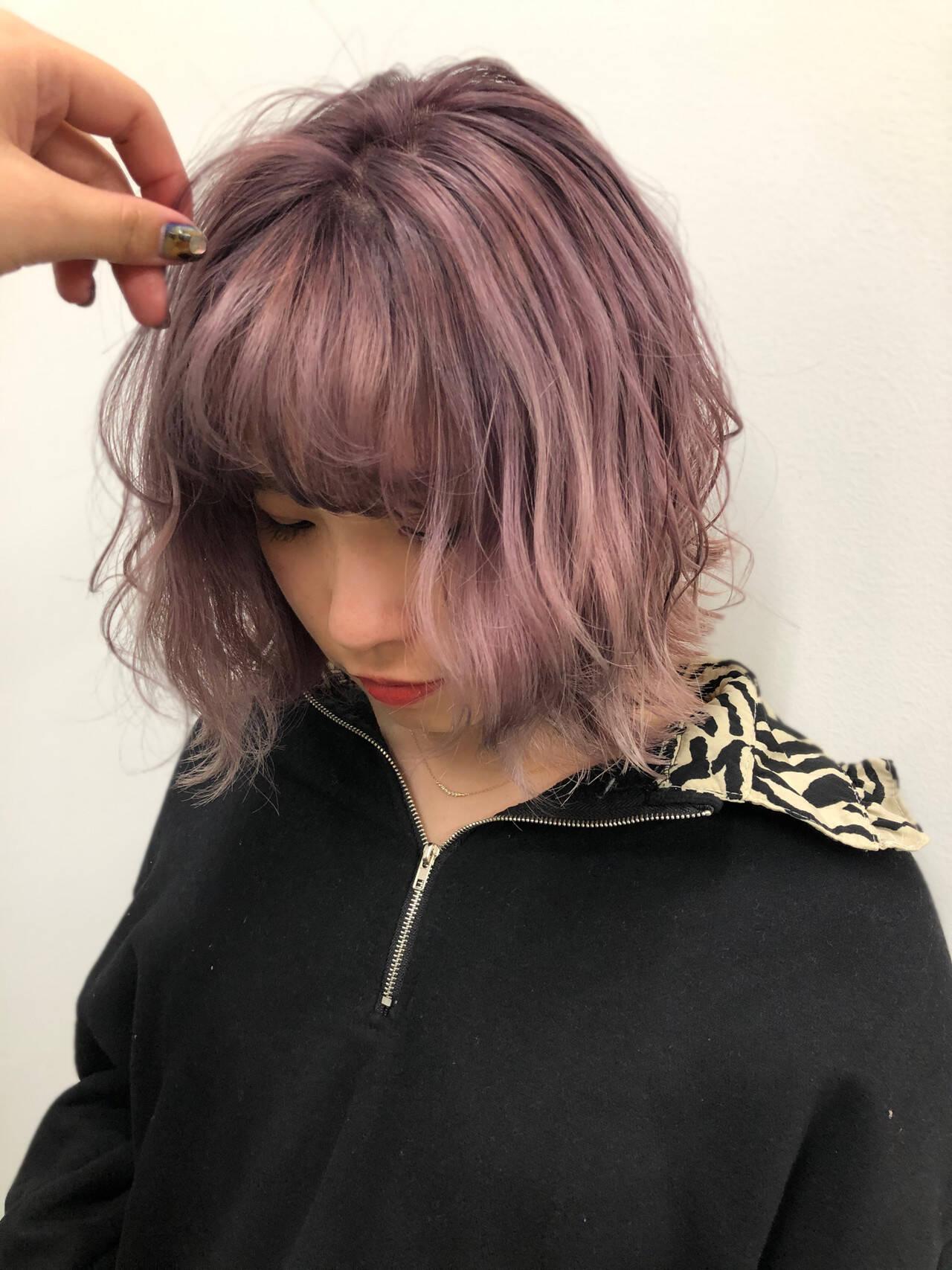 ボブ ラベンダーピンク フェミニン 暖色ヘアスタイルや髪型の写真・画像