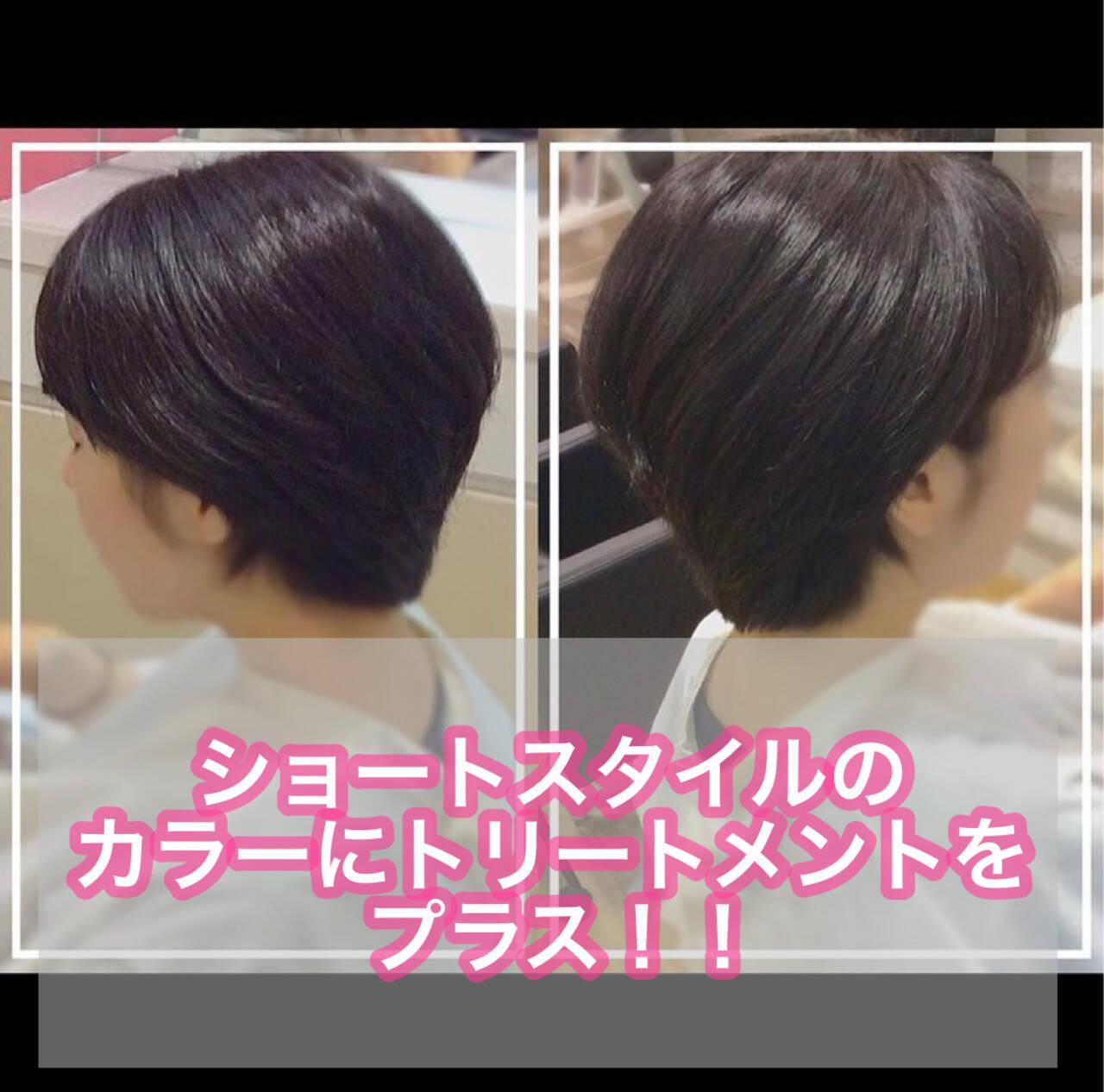 髪質改善トリートメント ベリーショート ショートボブ ショートヘアヘアスタイルや髪型の写真・画像