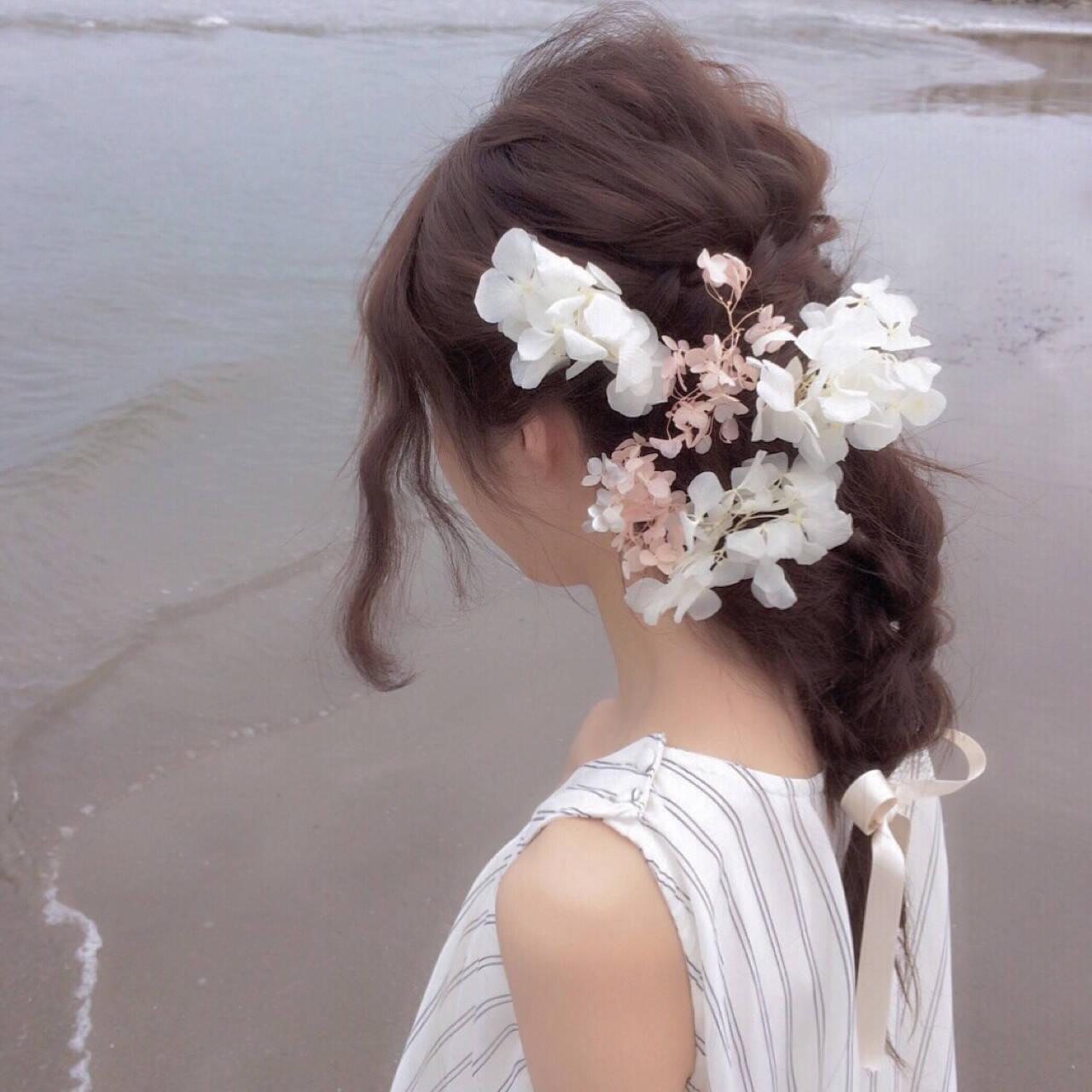 結婚式 セミロング 簡単ヘアアレンジ 夏ヘアスタイルや髪型の写真・画像