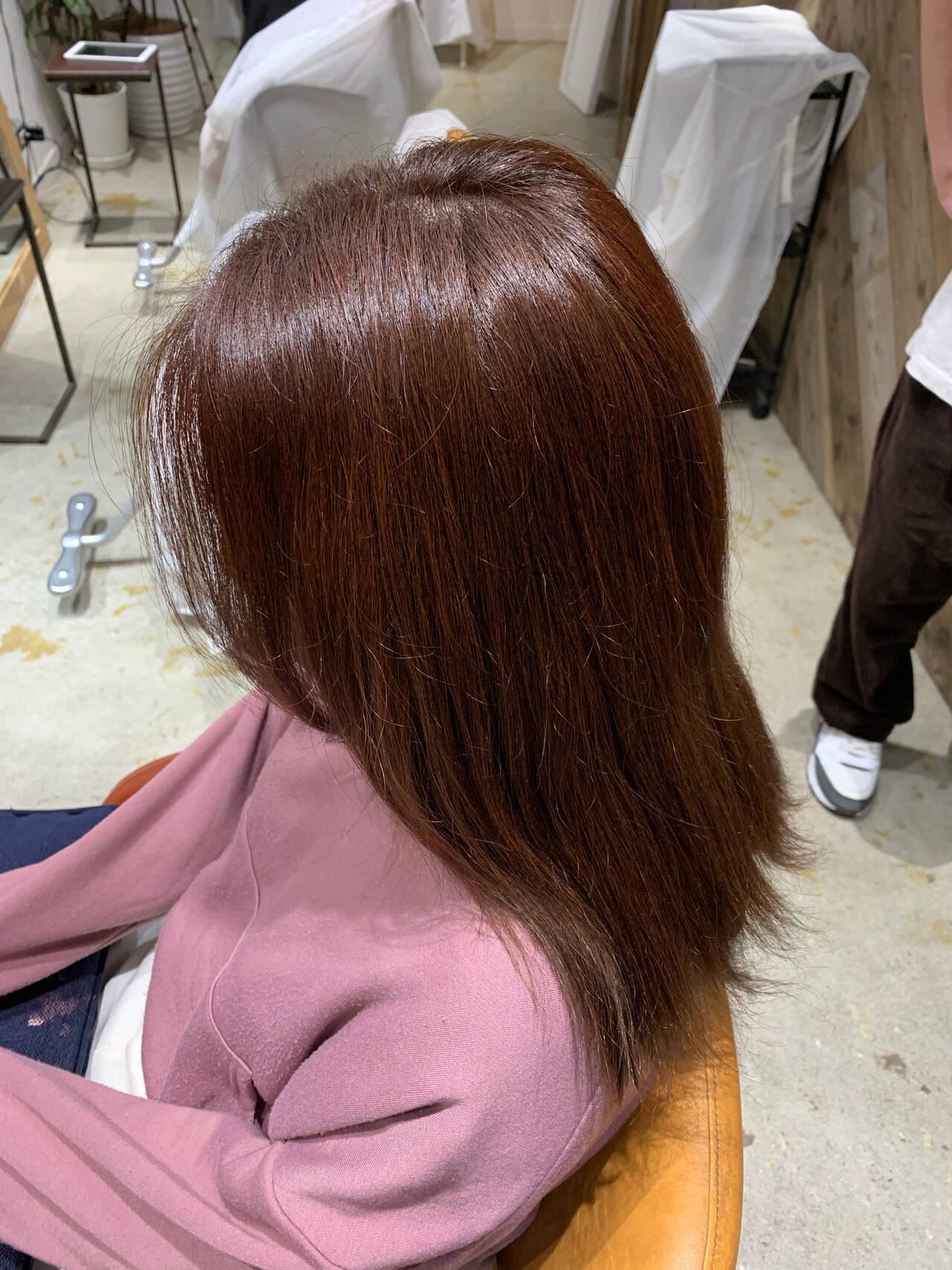 レッド モード グラデーションカラー ヘアカラーヘアスタイルや髪型の写真・画像