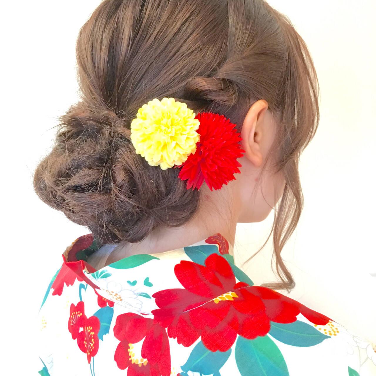 ゆるふわ 簡単ヘアアレンジ ロング ショートヘアスタイルや髪型の写真・画像