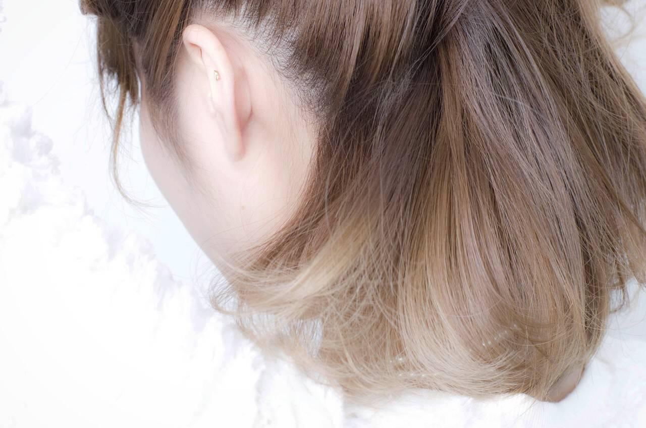 ストリート グレージュ インナーカラー ボブヘアスタイルや髪型の写真・画像