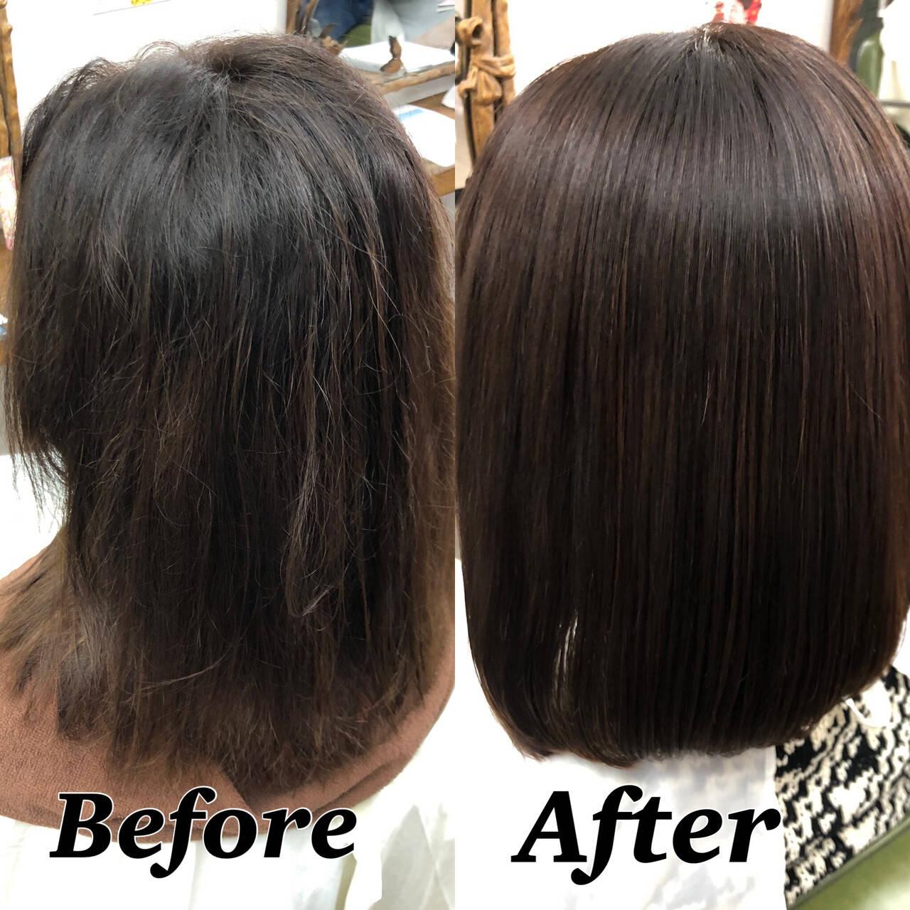 髪質改善 縮毛矯正 大人ハイライト ボブヘアスタイルや髪型の写真・画像