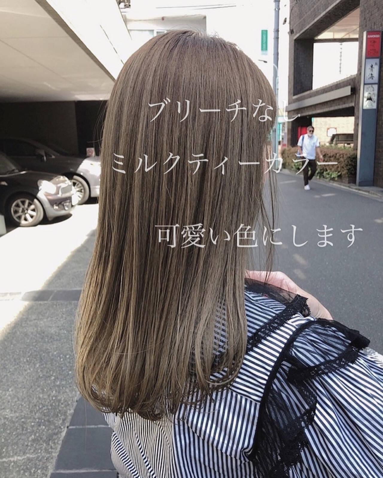 ナチュラル ミルクティーベージュ ミディアム ミルクティーブラウンヘアスタイルや髪型の写真・画像