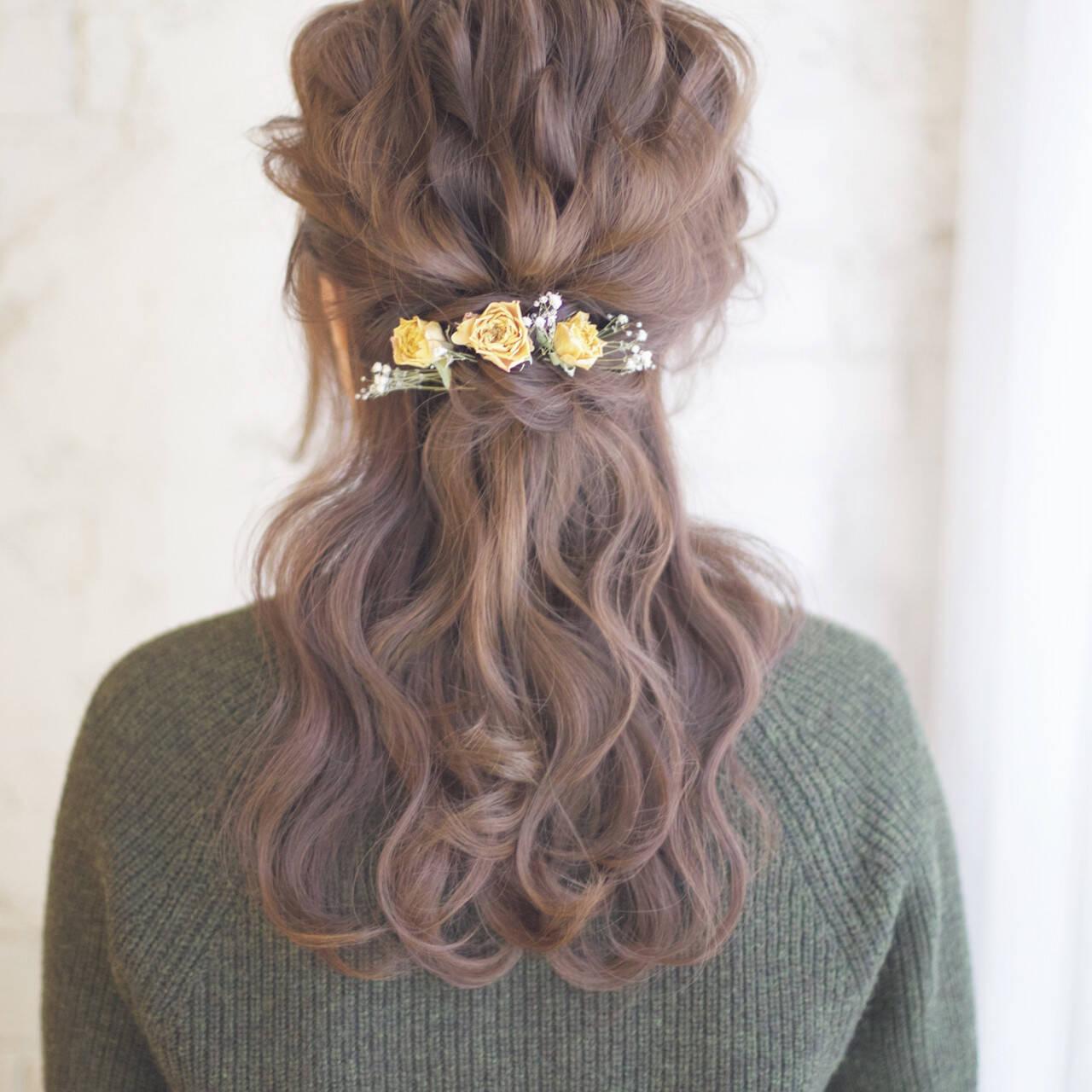 ヘアアレンジ 結婚式 セミロング ハーフアップヘアスタイルや髪型の写真・画像