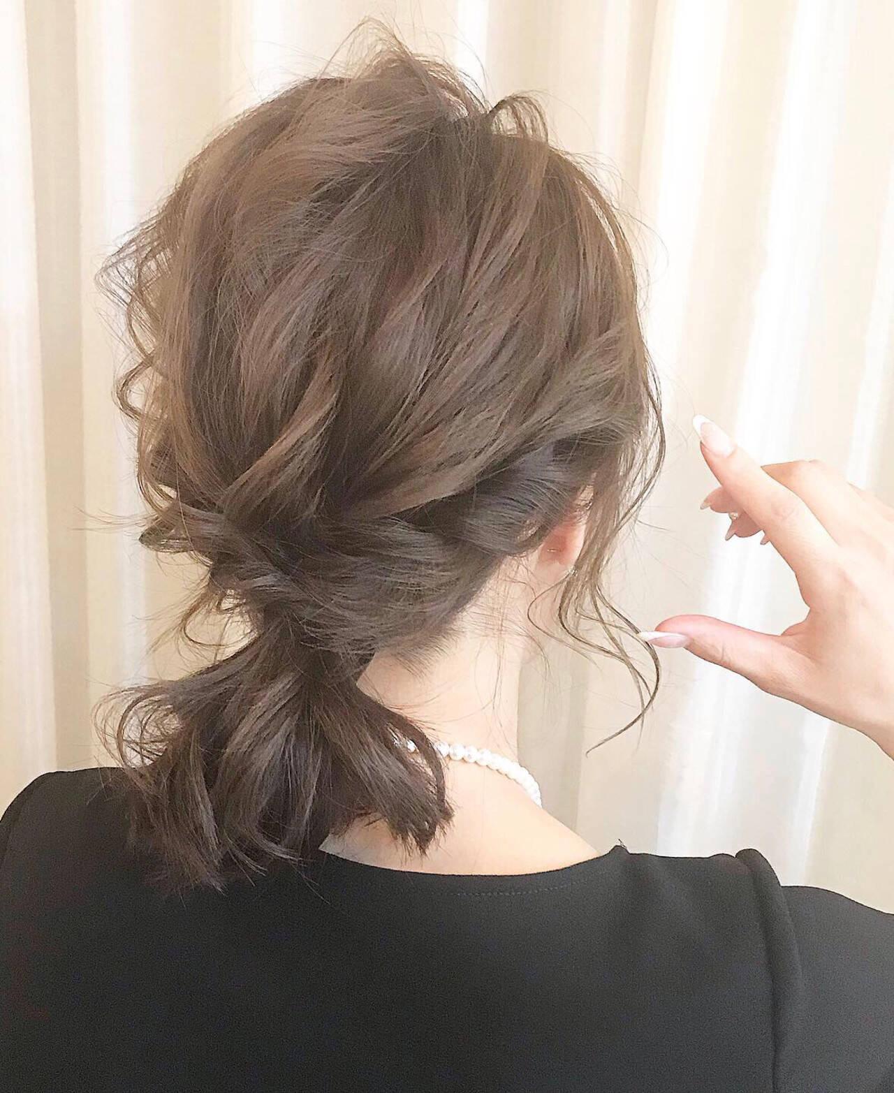 ミディアム ヘアアレンジ ナチュラル 結婚式ヘアアレンジヘアスタイルや髪型の写真・画像