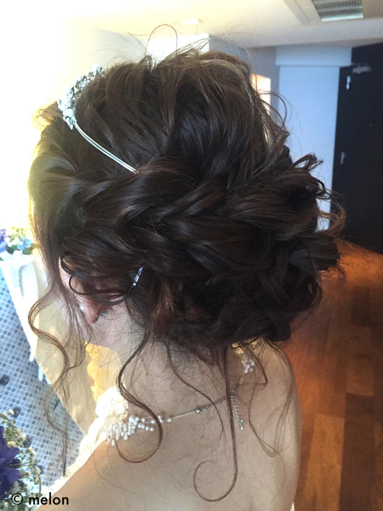 ヘアアレンジ 波ウェーブ ブライダル 結婚式ヘアスタイルや髪型の写真・画像