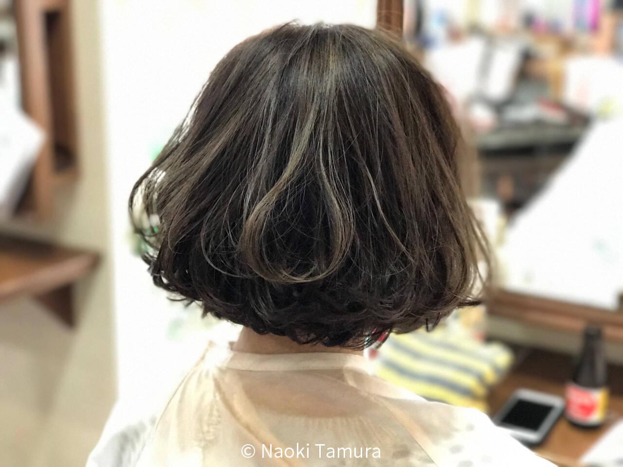 グレージュ 春 ゆるふわ ボブヘアスタイルや髪型の写真・画像