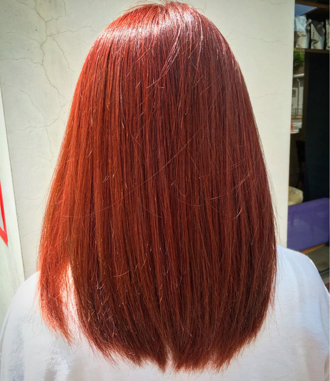 ガーリー ダブルカラー レッド ロングヘアスタイルや髪型の写真・画像