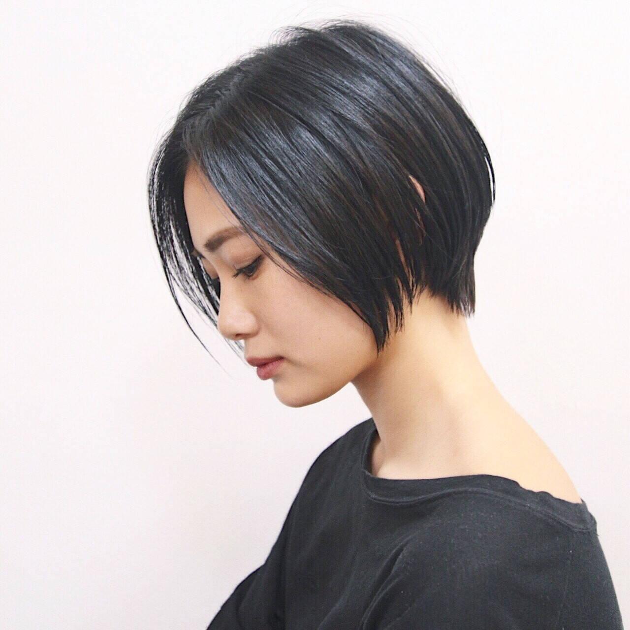 モード ハンサムショート ショートボブ ベリーショートヘアスタイルや髪型の写真・画像