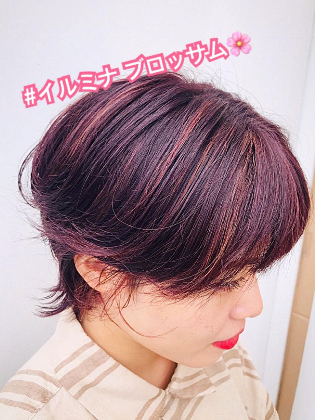 ピンク ベリーピンク 外国人風カラー 大人ハイライトヘアスタイルや髪型の写真・画像