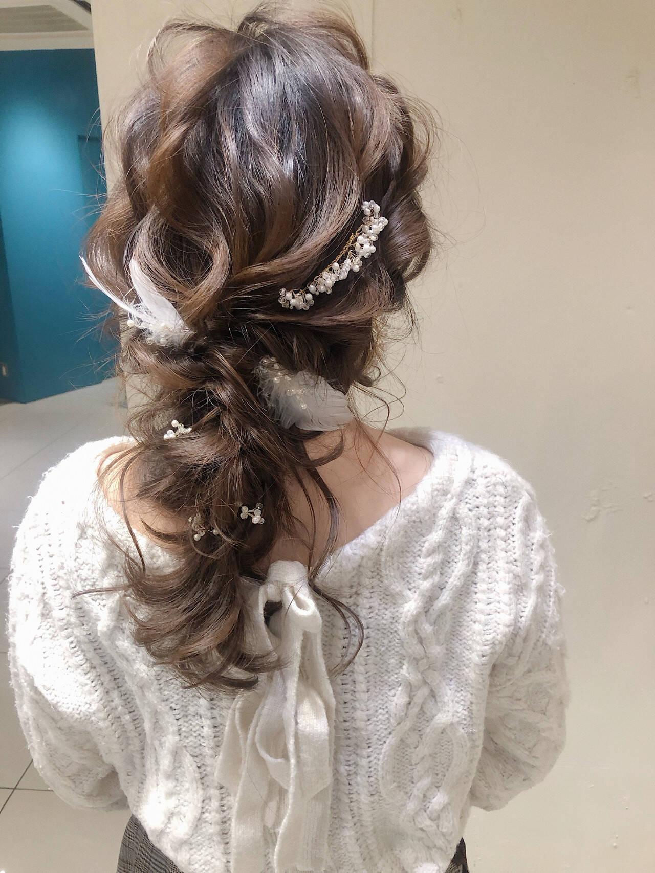 ロング ヘアアレンジ デート パーティーヘアスタイルや髪型の写真・画像