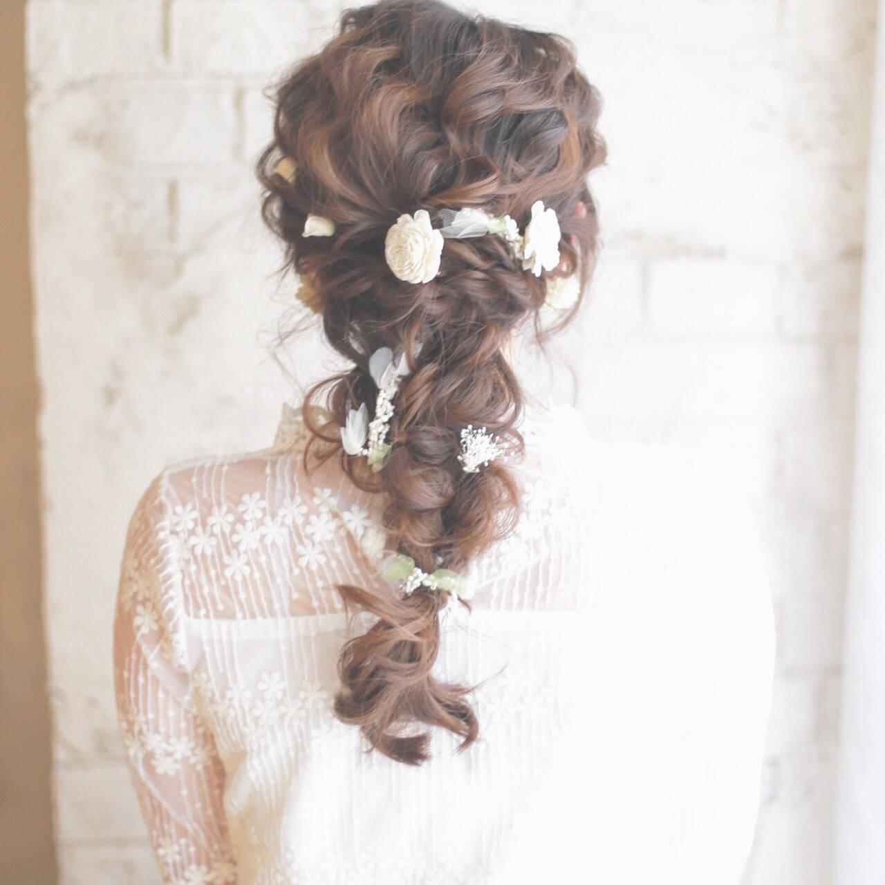 簡単ヘアアレンジ ショート 結婚式 花ヘアスタイルや髪型の写真・画像