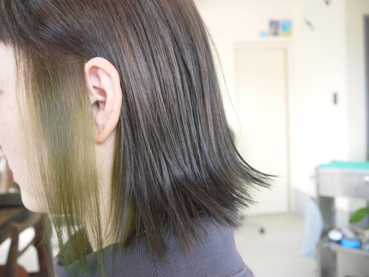 ダブルカラー ナチュラル ボブ グレージュヘアスタイルや髪型の写真・画像