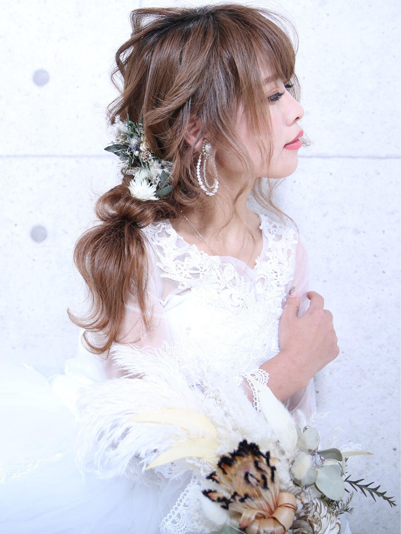 簡単ヘアアレンジ フェミニン 結婚式 デートヘアスタイルや髪型の写真・画像