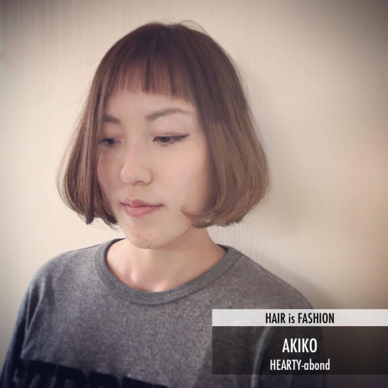 ナチュラル ストリート ボブ ダブルバングヘアスタイルや髪型の写真・画像