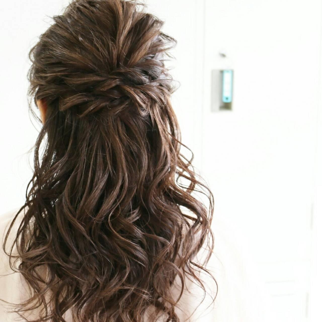 大人かわいい ハーフアップ ゆるふわ ロングヘアスタイルや髪型の写真・画像