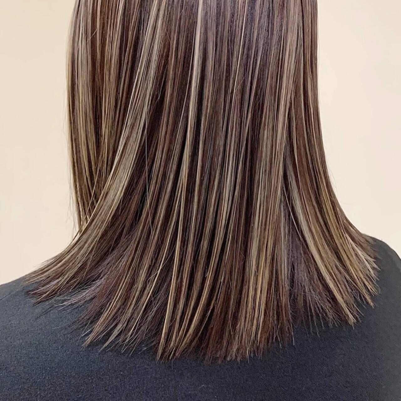 大人ハイライト ハイライト 極細ハイライト 3Dハイライトヘアスタイルや髪型の写真・画像
