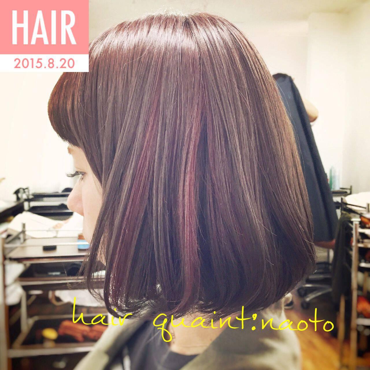 大人かわいい ダブルカラー カラーバター ボブヘアスタイルや髪型の写真・画像