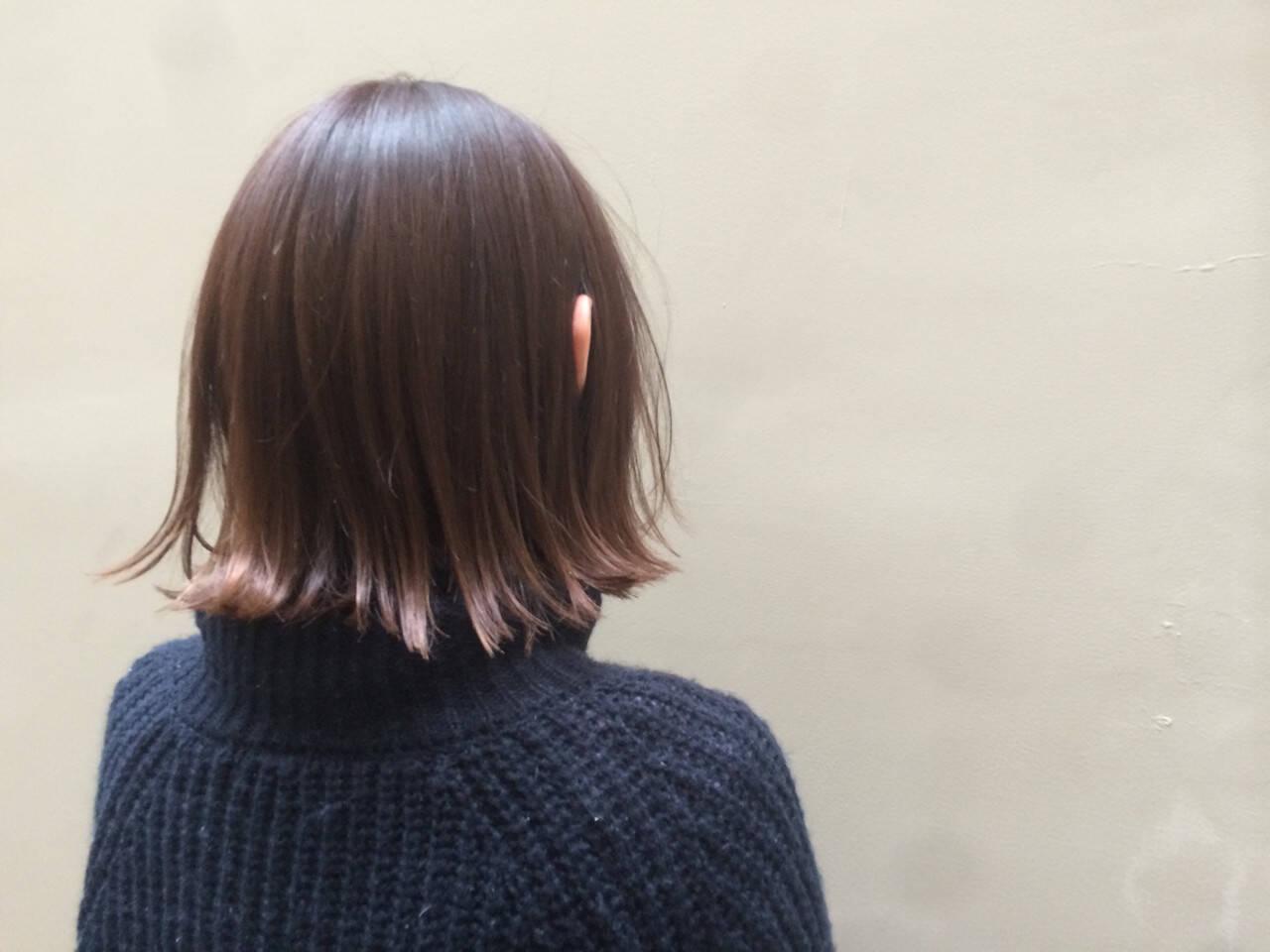 ワンレングス ストリート グラデーションカラー ピンクヘアスタイルや髪型の写真・画像