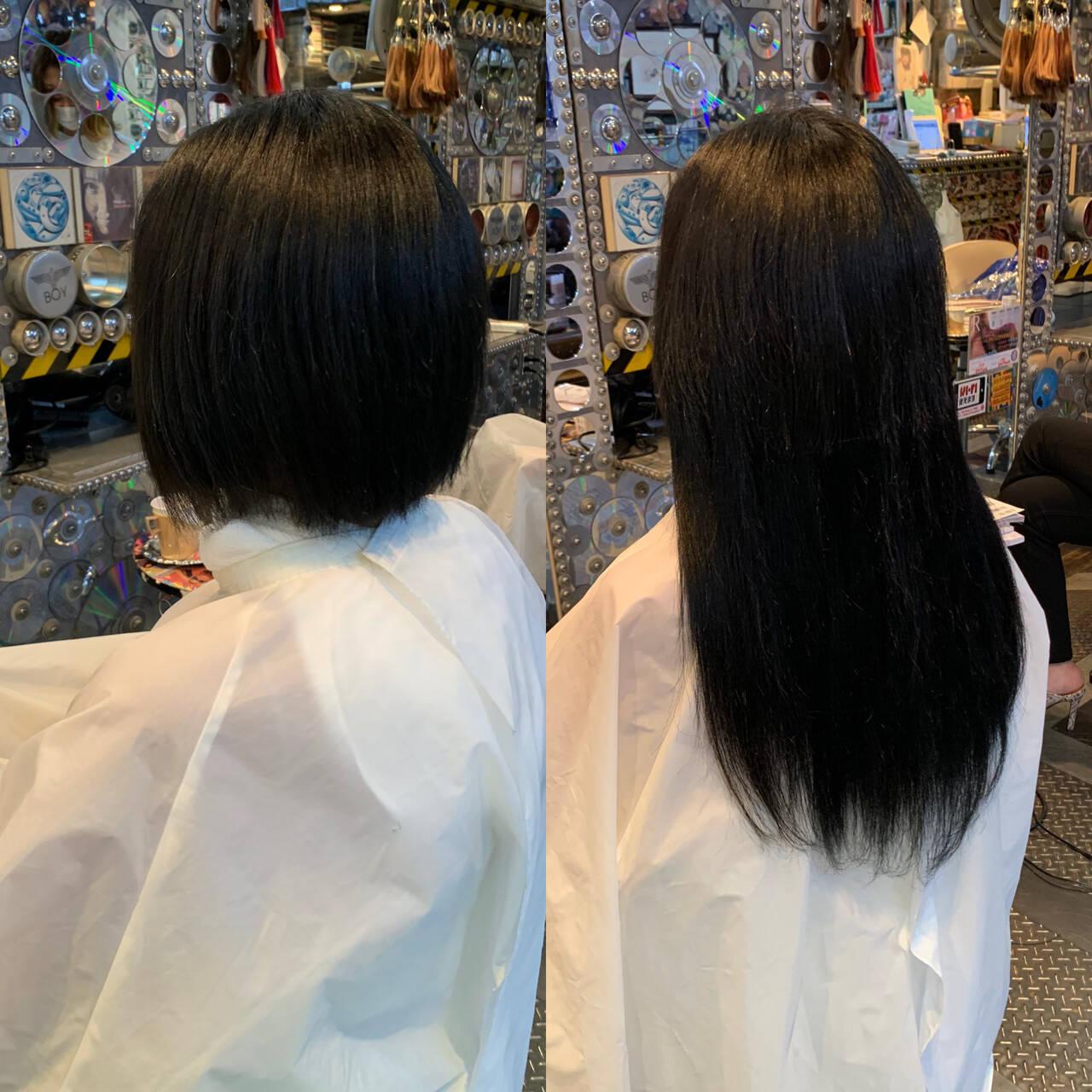 ロングヘア ミニボブ ロング エレガントヘアスタイルや髪型の写真・画像