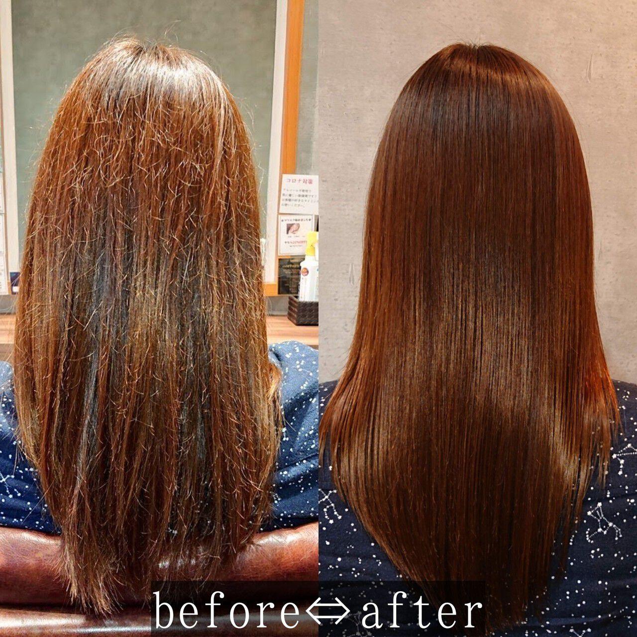 セミロング ナチュラル 髪質改善 髪質改善トリートメントヘアスタイルや髪型の写真・画像