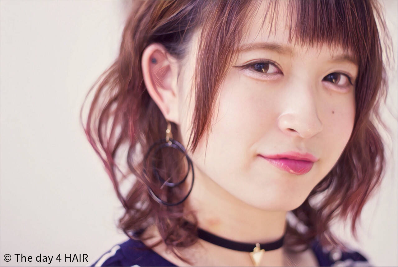 ストリート ピンク ボブ ラベンダーピンクヘアスタイルや髪型の写真・画像