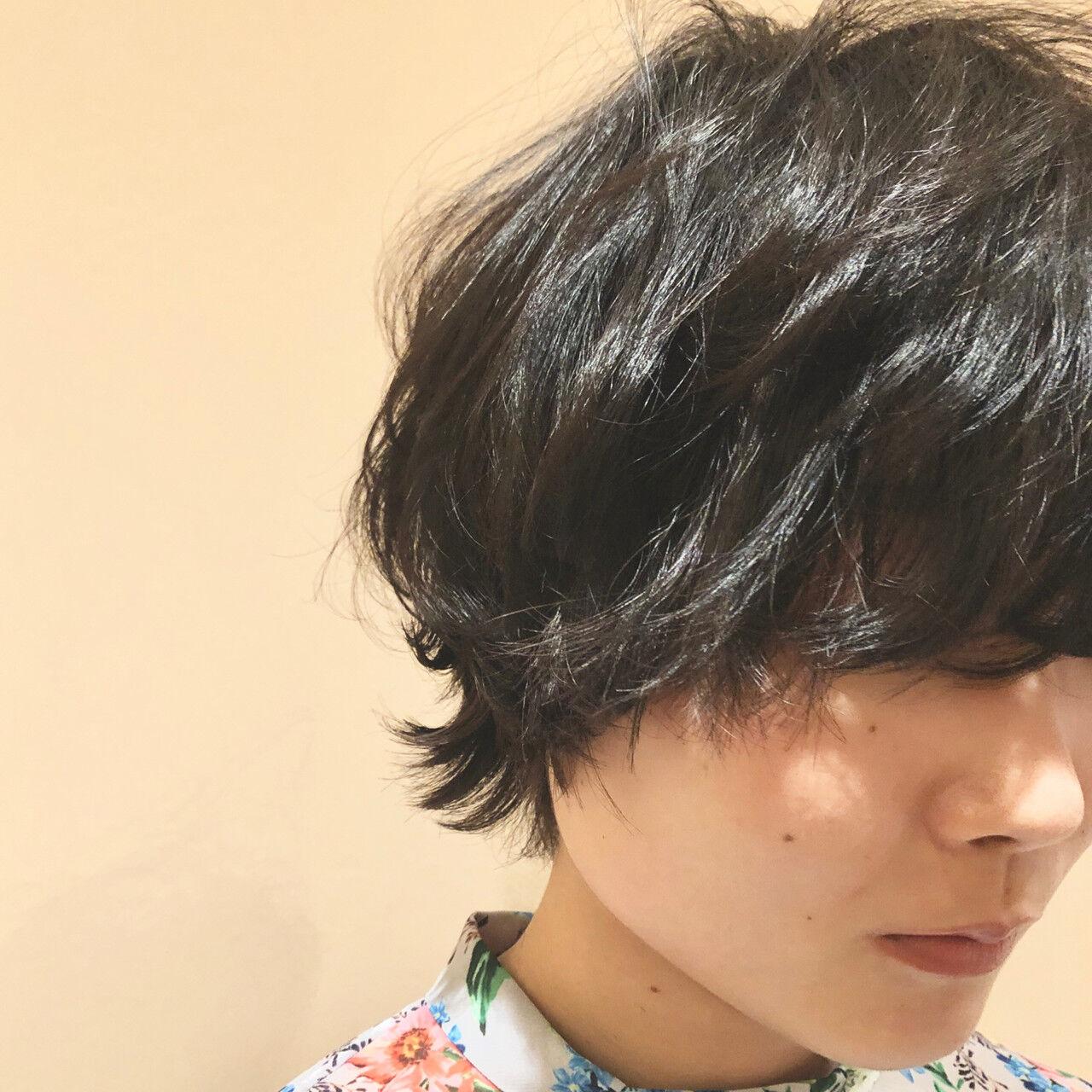 ウルフパーマ マッシュショート モード マッシュヘアスタイルや髪型の写真・画像