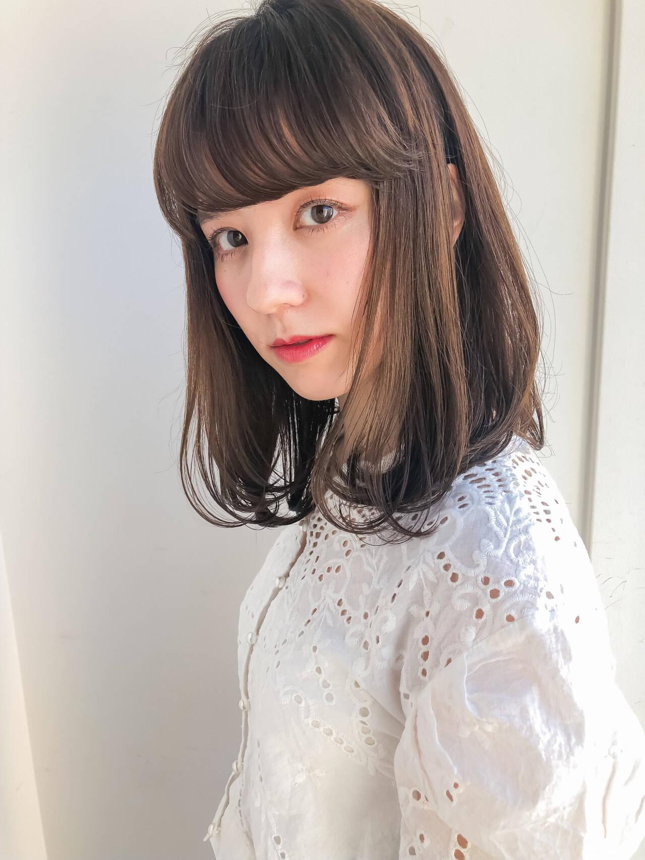 ロブ 韓国ヘア ミディアム タンバルモリヘアスタイルや髪型の写真・画像