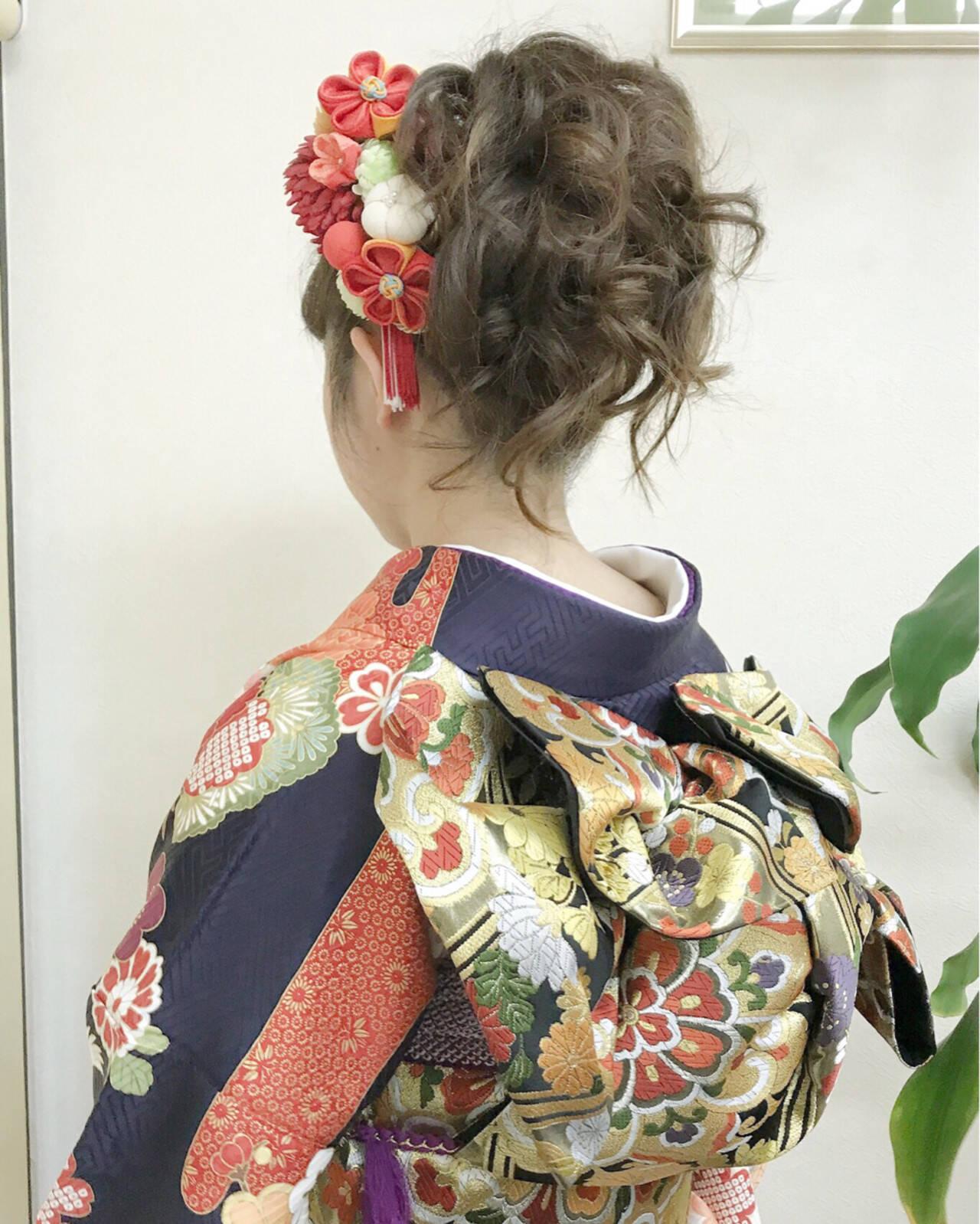結婚式 成人式 ヘアアレンジ ガーリーヘアスタイルや髪型の写真・画像
