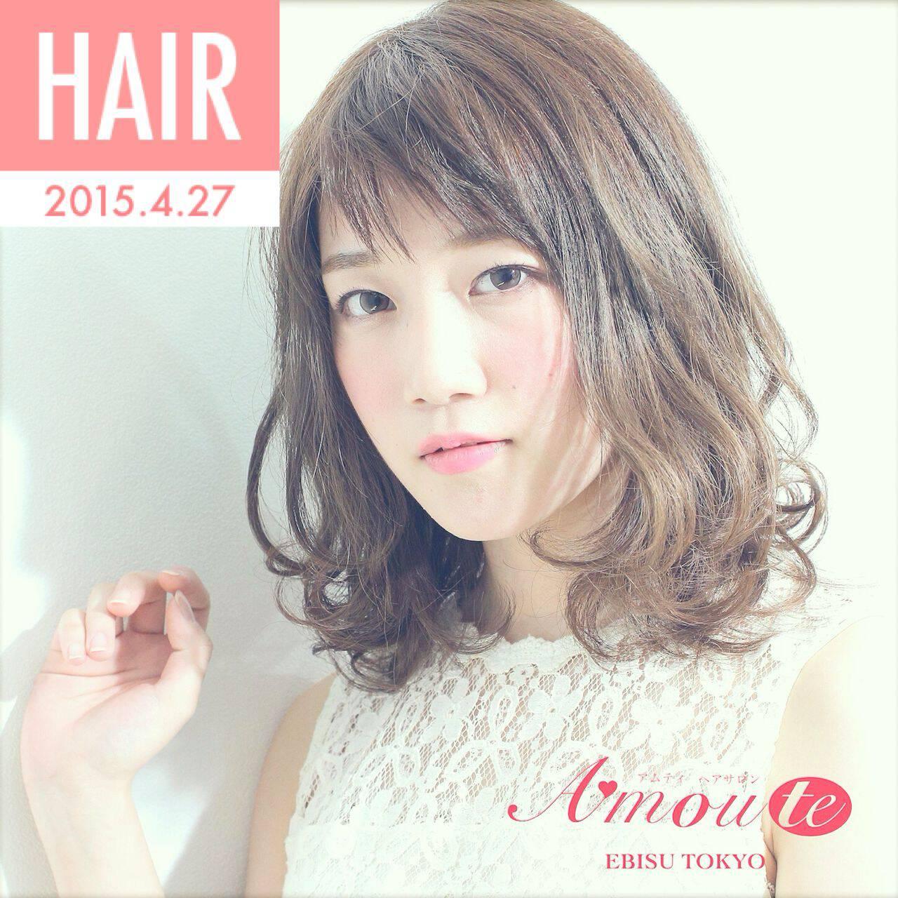 モテ髪 夏 ゆるふわ オン眉ヘアスタイルや髪型の写真・画像