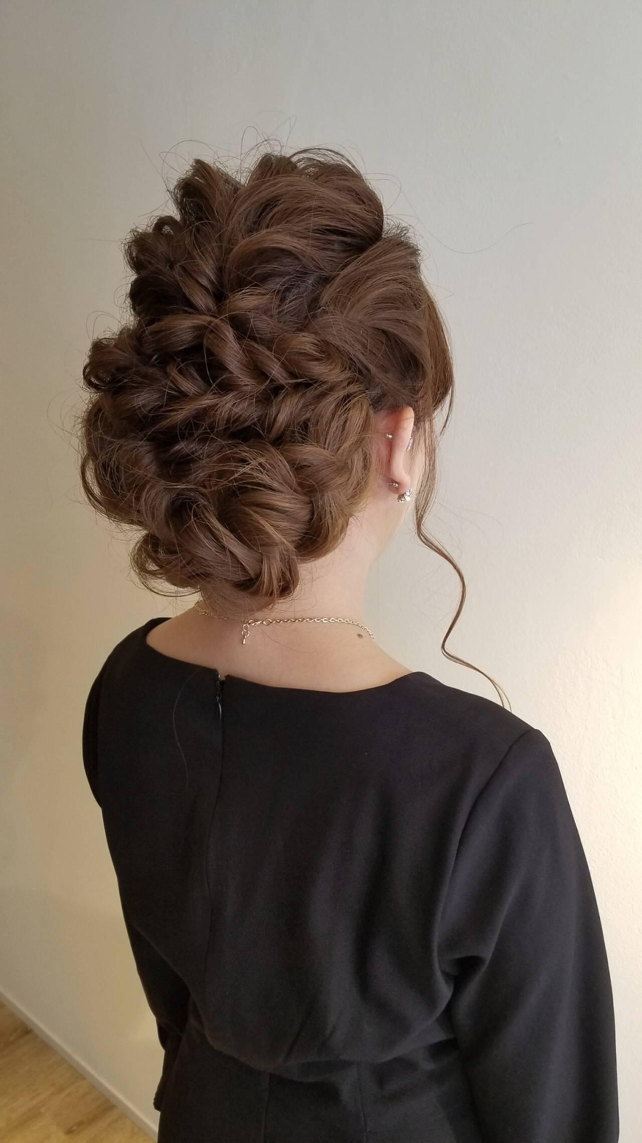 ヘアアレンジ 結婚式 成人式 エレガントヘアスタイルや髪型の写真・画像