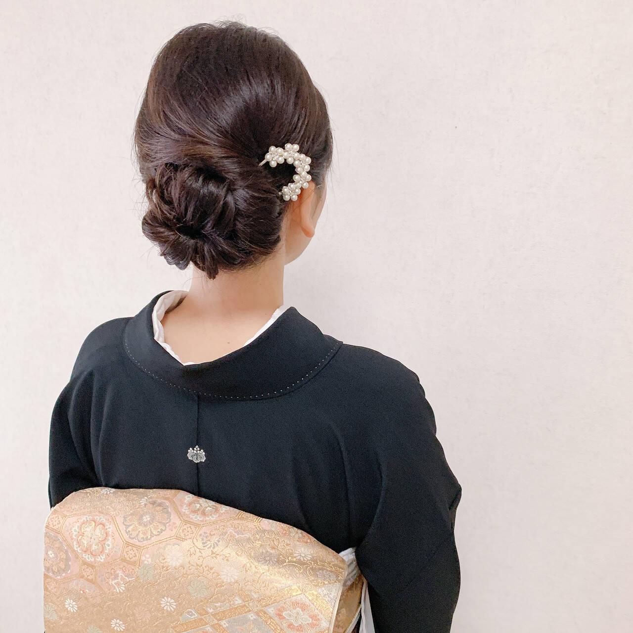 卒業式 エレガント 着物 ミディアムヘアスタイルや髪型の写真・画像